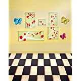 A.Monamour Brown Yellow Wall White And Black Grid Floor Butterfly For Kids Room Wall Mural Photography Backdrops