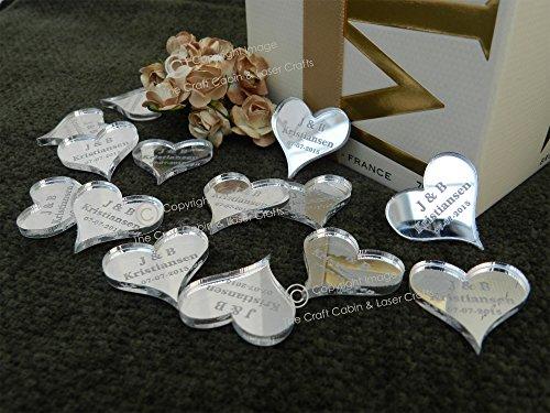 X100klein silber Spiegel Herzen 20mm, personalisierbar, für, Tischdekorationen, Hochzeiten (Herz Spiegel)