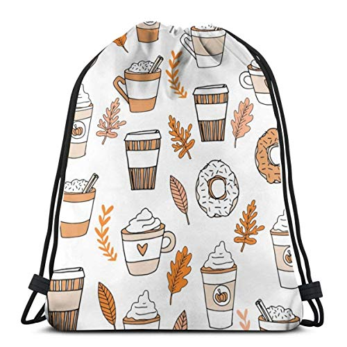 Pumpkin Spice Latte Coffee and Donuts Fall Autumn 3D Print Drawstring Backpack Rucksack Shoulder Bags Gym Bag 17 X 14 Inch - Laptop Zebra-print Fälle