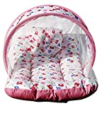 Nagar International Baby's Cotton Bed Mattress with Mosquito Net Multi Color for New Born to 4 Months Baby (Pink)