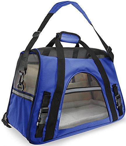Ltuotu Portador del Perro Capazos Bolsa de Transporte para Mascotas Perros Gatos Animal Transportín Plegable, Aprobado por La Aerolínea de Viajes Portador del Bolso Lateral Suave (L(48*25*33cm), azul oscuro)
