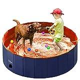 Fuloon Hundepool mit Ablassventil, Faltbarer Hunde Pool Katzenpool Swimmingpool Planschbecken...