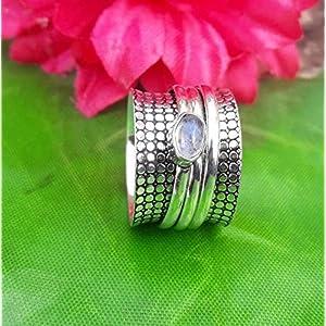 925 Sterling Silber Mondstein Spinner Ring für Männer und Frauen, Meditationsring für Weihnachtsgeschenk, Spinning Ring