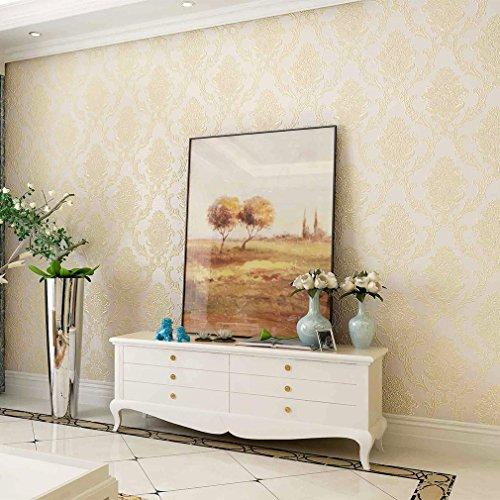 kinlo-3d-papel-pintado-053-x-10m-para-pared-resistente-a-humedad-moho-antiestatico-amarillo-claro