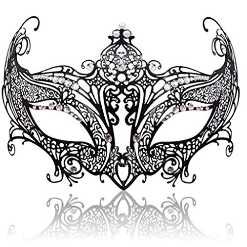 RXBC2011 Maske Party Maskerade Glamorous Sexy Maske Halloween Karneval Black Metal