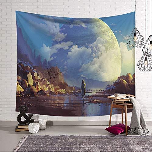 Morbuy Wandteppich Emotionale Welt, Tapisserie Kreativ Design Motiv Wandbehang aus Polyster Wandtuch Tischdecke Meditation Yogamatte Strandtuch (Groß (150 x 200cm), Blauer Himmel)