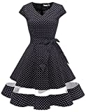 Gardenwed Damen Vintage 1950er Party Kleider Polka Dots Pinup Retro Rockabilly Knielang Cocktailkleid Faltenrock Black Small White Dot XS