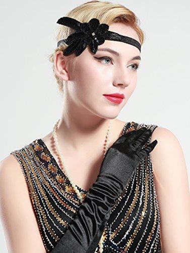 BABEYOND 1920s Stirnband Damen 20er Jahre Stil Haarband Gatsby Kostüm Accessoires (Schwarz) - 3