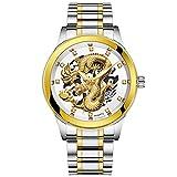 Leuchtend Wasserdicht Luxus Uhren Herren Gold Dragon Skulptur Quarz Uhr Leder Kalender Armbanduhr Groveerble