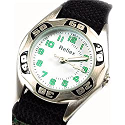 Boys Green Camouflage Fabric Velcro Strap Watch