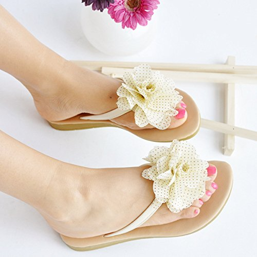 ZYUSHIZ Der Strand ist Hausschuhe einfache Spitze süße Blumen, Hausschuhe und komfortable Sandalen Weiß