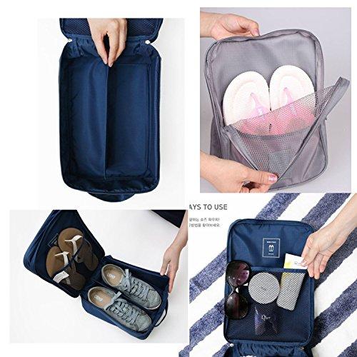 Amoyie 4er Set Multifunktionale Schuhtasche Tasche zur Trennung von Schuhen Wasserfeste Schuhbeutel Schuhsack Tasche für Schuhe, Reisezubehör, Weinrot und Grün Grau und Blau
