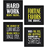 Sifty Collections 4 Piece Set Of Framed Wooden Wall Hanging Motivational Office Decor Art Prints 8.7 X 8.7 Inch Without Glass