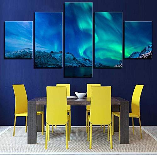 Modulare Leinwand HD Drucke Bilder Wandkunst 5 Stücke Poster Schnee Berg Polarregion Gemälde Kinderzimmer Dekor Arbeit_30x80cm