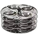 Kitchenwale's Stainless Steel 4-Rack Idli Stand, 16 Piece Idli Maker/Pancake Stand/Idli Maker Stand For Pressure Cooker/Idli Plates-Perfect Gift For Woman