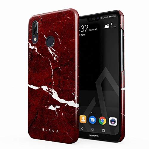 BURGA Hülle Kompatibel mit Huawei P20 Lite Handy Huelle Iconic Rubin Rot Marmor Muster Ruby Red Marble Mädchen Dünn, Robuste Rückschale aus Kunststoff Handyhülle Schutz Case Cover Ruby Red Handy