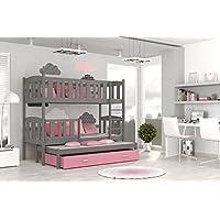 Etagenbett Hochbett JAKOB 3 184x80 Farbe grau/rosa mit einer Schublade, unschädlich lackiert Kinderbett NEU preisvergleich bei kinderzimmerdekopreise.eu
