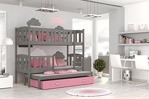 Etagenbett Hochbett JAKOB 3 184x80 Farbe grau/rosa mit einer Schublade, unschädlich lackiert Kinderbett NEU