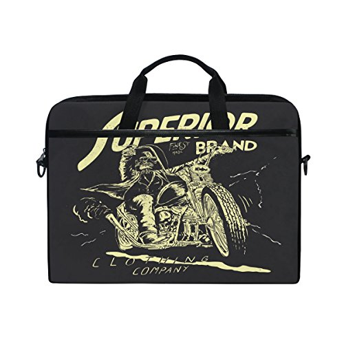 jstel Totenkopf-Biker-Race-Laptop Schulter Messenger Tasche Fall Sleeve für 35,6cm zu 39,6cm mit verstellbarer Notebook Schultergurt -