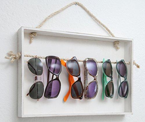 Brillenhalter Brillenständer für bis zu 8 Brillen Holz in Shabby-Look Weiß