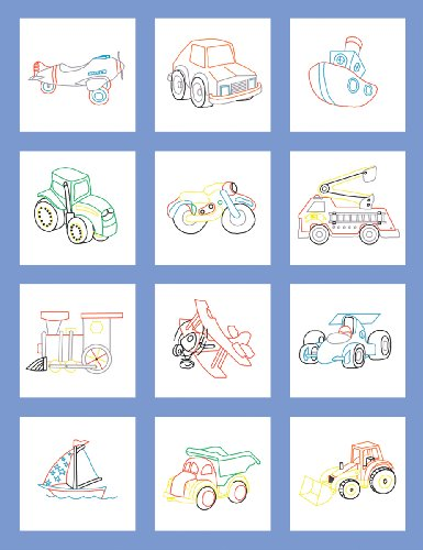 Fairway Poly Baumwolle Prägung Baby Quilt Blocks 9Zoll x 9Zoll 12/pkg-Toy Fahrzeug