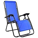 Charles Bentley Zero Gravity Foldable Reclining Garden Chair Camping Folding Recliner Textilene Sun Lounger Relaxer - Blue (Lime Green & Grey Available)