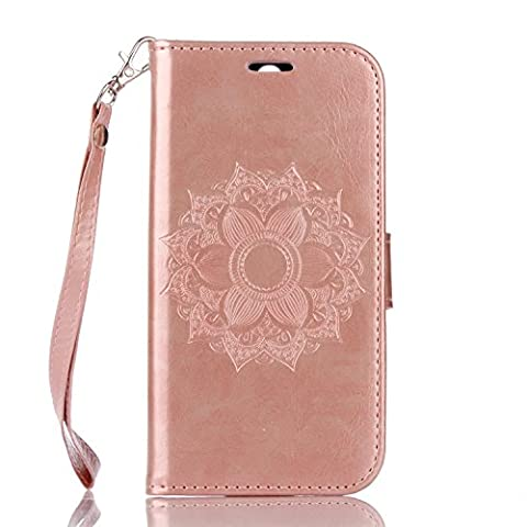 HTC One M8 Case Leather, Ecoway Mandala embossed pattern PU Leather Stand Function Protective Cases Covers with Card Slot Holder Wallet Book Design Detachable Hand Strap for HTC One M8 - Rose gold