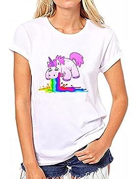 T-Shirt Maglietta - Unicorno - Adatto a Adulti Donna & Ragazza ♀ Idea Regalo Estate