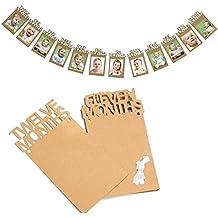 JZK® 12 meses bebé primer año marco foto bunting banner guirnalda para el primer cumpleaños, primera comunión, baby shower, bautismo, bautizo, decoración fiesta, accesorios fiesta, suministros fiesta