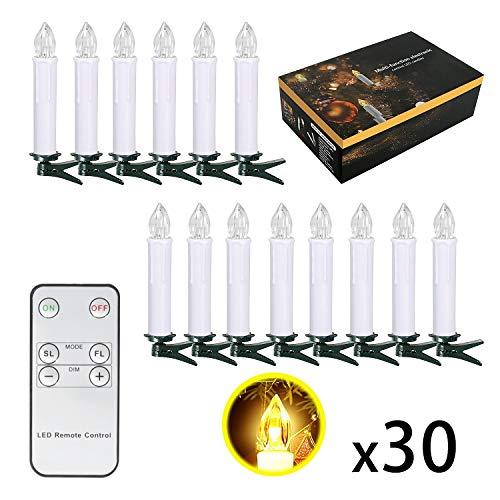 SunJas 30er Weihnachten LED Kerzen Lichterkette Kerzen Weihnachtskerzen Weihnachtsbaum Kerzen mit Fernbedienung Kabellos