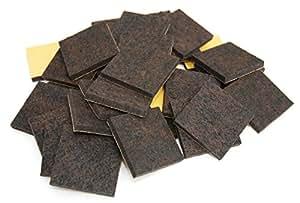 32 x Patins en feutre haut de gamme | 45x45 mm | carrée | marron | auto-adhésifs | qualité premium (5,5 mm)