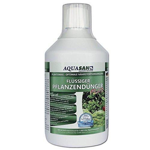 AQUASAN Aquarium PlantoMax Flüssiger Pflanzendünger Plus (GRATIS Lieferung in DE - Aquarium Pflanzen-Dünger mit Allen wichtigen Nährstoffen - sattgrüner Pflanzenwuchs), Inhalt:500 ml