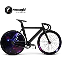 700C Cool Fixed Gear Bike, Road Bike, Racing Bike, Flash Bicycle, Aluminum Alloy Muscle Frame, Shiny Rear Wheel (C)