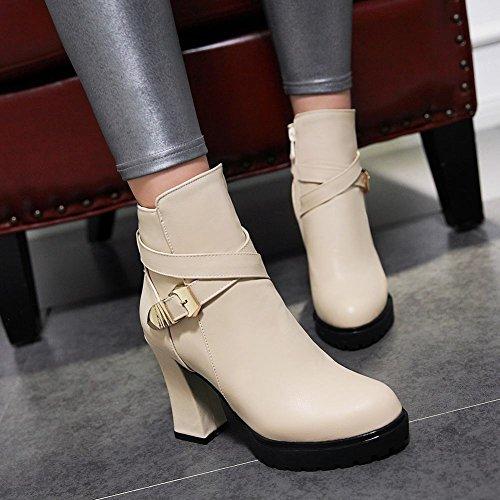 Mee Shoes Damen high heels Reißverschluss Plateau Kurzschaft Stiefel Beige