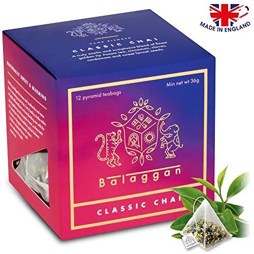 Chai Tea - Classic Chai | Premium | Hand Blended | 12 Biodegradable Pyramid Tea Bags | by Balaggan.