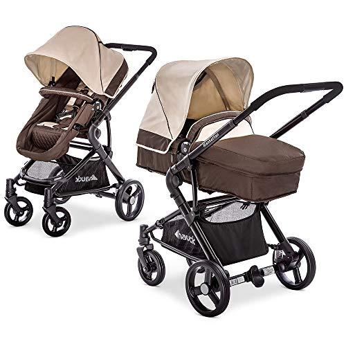 Hauck Kombi-Kinderwagen Manhattan | Kinderwagen-Set mit Babywanne und Sportwagen Aufsatz - Chocolate Almond Beige