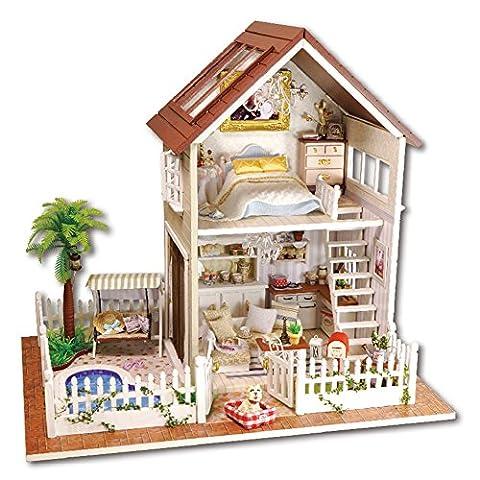 LianLe Puppenhaus 2 Etagen Villa DIY Hof mit Kokospalme Herz Schwimmbad Weiß Zaun Kinder Geschenk