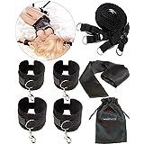 liebesfreunde® Bondage Set - Sex Fesseln mit Handschellen Fußfesseln und gratis Augenbinde - BDSM Bett Fesselset Sexspielzeug für Paare