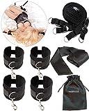 liebesfreunde Bondage Set - Sex Fesseln mit Handschellen Fußfesseln und gratis Augenbinde - BDSM Bett Fesselset Sexspielzeug für Paare