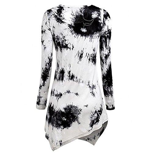 Damen Oberteile Bedruckt Rundkragen T-Shirt Tops Langen Langarm T-Shirt Hemd Casual Loose Blusen Young-Fashion Weiß