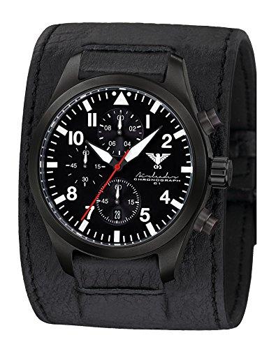 Airleader Black Steel Chronograph KHS.AIRBSC.LK Edelstahl IP-beschichtet schwarz, Leder-Kraftband, KHS Tactical Watch, Einsatzuhr, Fliegeruhr