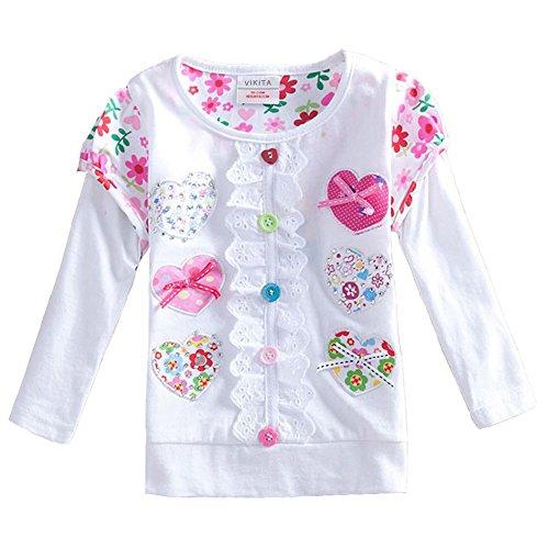 VIKITA Mädchen Langarm Baumwolle T-Shirt Top 1-6 Jahre L339WHITE 7T (Langarm T-shirt 5)