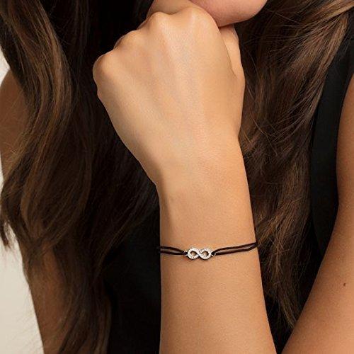 Thomas Sabo Damen-Armband Little Secrets Unendlichkeit 925 Sterling Silber Schwarz LS003-401-11-L20v