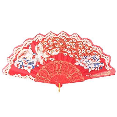 DealMux Blumen-Pfau-Muster Tanzen Folding Chinesischer Volkstanz Hand Fan Rot Weiß