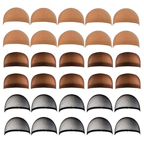 Lystaii 30pcs Perücken kappen Stretchy Nylon Close End Stocking Perückenkappen Unisex für Frauen Männer Brown Nude und Black Mesh