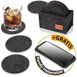 DINING concept Filz Untersetzer für Gläser rund im 10er Set dunkelgrau mit Box & GRATIS Handy Filzuntersetzer I Premium…