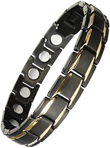 Original YINGA-VITAL Magnetschmuck Herren Armband. Extrastarke 4000 Gauss Magnete. 18 Magnete. Magnetarmband in Stil Bicolor Schwarz-Gold, Länge 23,5cm