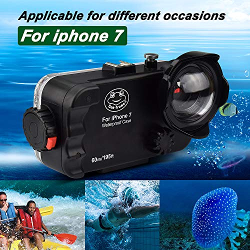 iPhone 7/8 Black Waterproof Case,Sea Frogs 195FT/60M IPX8 Certified Waterproof Underwater Swimming Diving Surfing Snorkeling case with Wide Angle Dome Port Lens 4.7inch