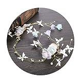 AmDxD Vergoldet Haarschmuck Hochzeit Schmetterling Perlen Gaze Blume Haarbänder Damen Weiß