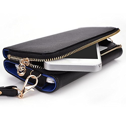 Kroo d'embrayage portefeuille avec dragonne et sangle bandoulière pour Samsung Galaxy A3 Green and Pink Black and Blue